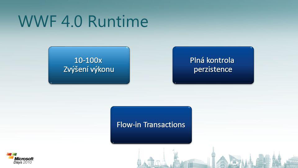 WWF 4.0 Runtime 10-100x Zvýšení výkonu Plná kontrola perzistence