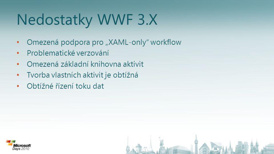 "Nedostatky WWF 3.X Omezená podpora pro ""XAML-only workflow"