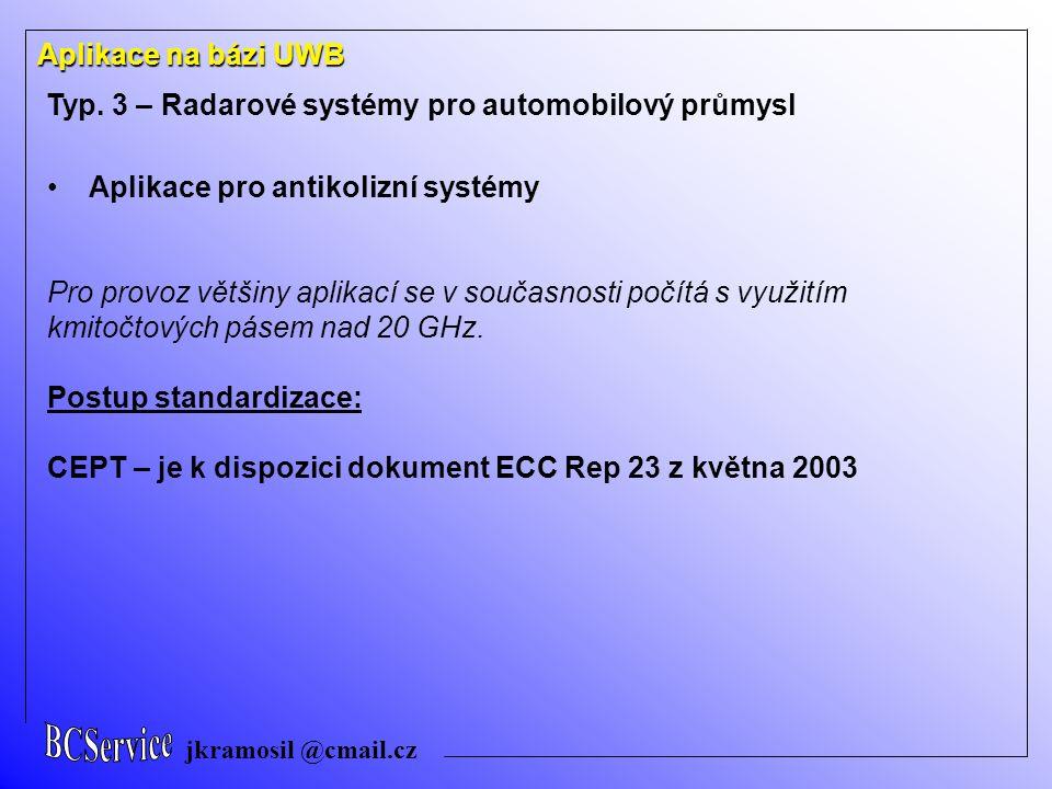 Typ. 3 – Radarové systémy pro automobilový průmysl