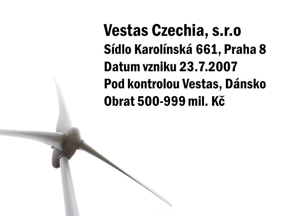 Vestas Czechia, s.r.o Sídlo Karolínská 661, Praha 8