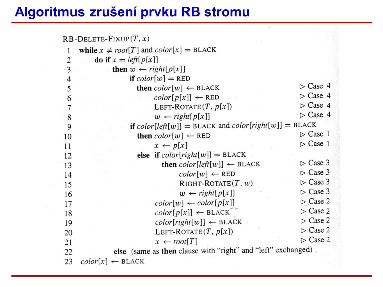 Algoritmus zrušení prvku RB stromu