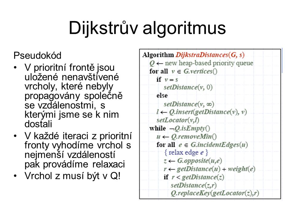 Dijkstrův algoritmus Pseudokód