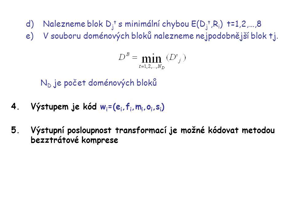 Nalezneme blok Djt s minimální chybou E(Djt,Ri) t=1,2,…,8