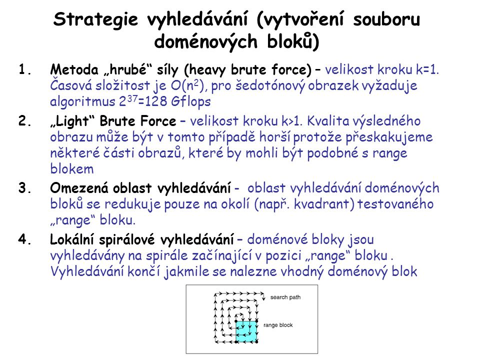 Strategie vyhledávání (vytvoření souboru doménových bloků)