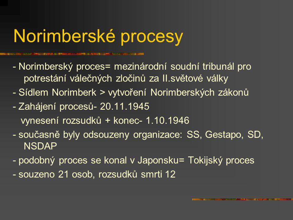 Norimberské procesy - Norimberský proces= mezinárodní soudní tribunál pro potrestání válečných zločinů za II.světové války.