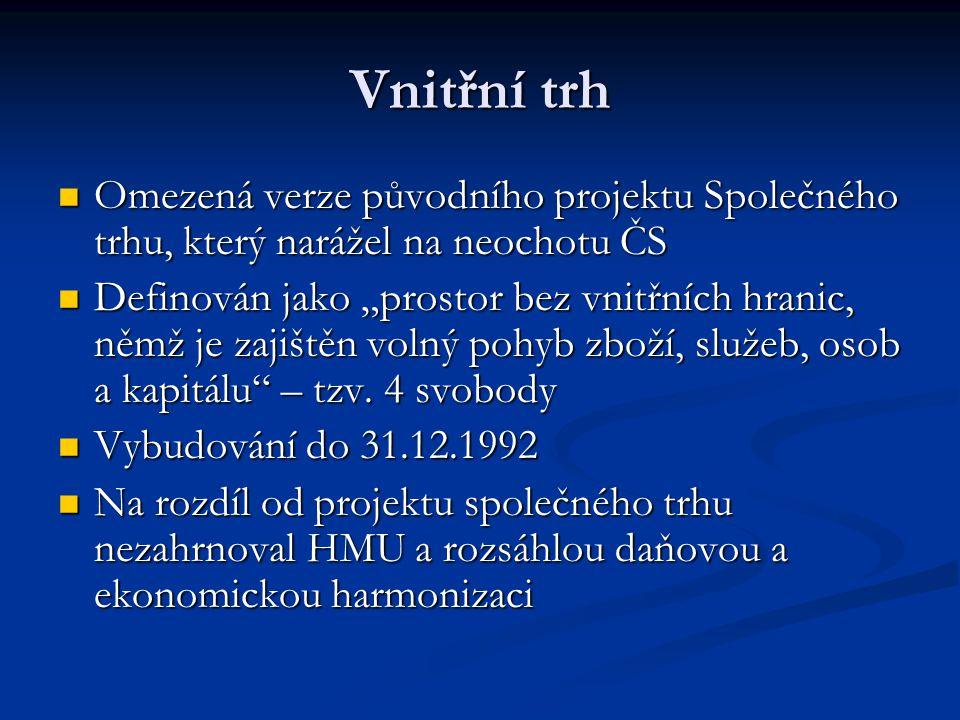Vnitřní trh Omezená verze původního projektu Společného trhu, který narážel na neochotu ČS.