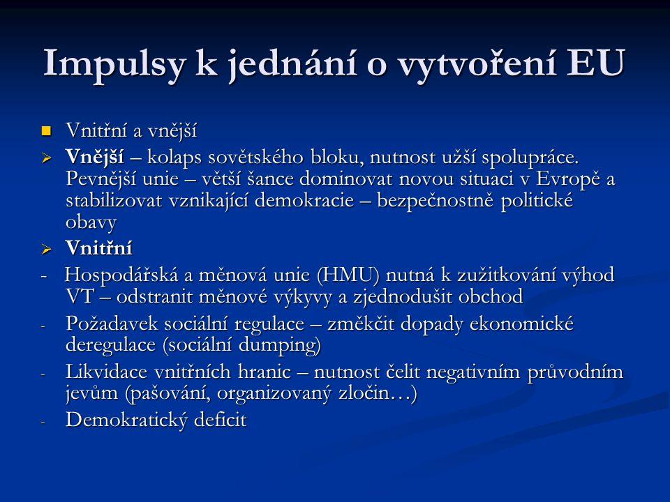 Impulsy k jednání o vytvoření EU