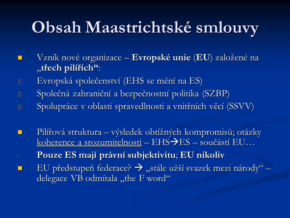 Obsah Maastrichtské smlouvy