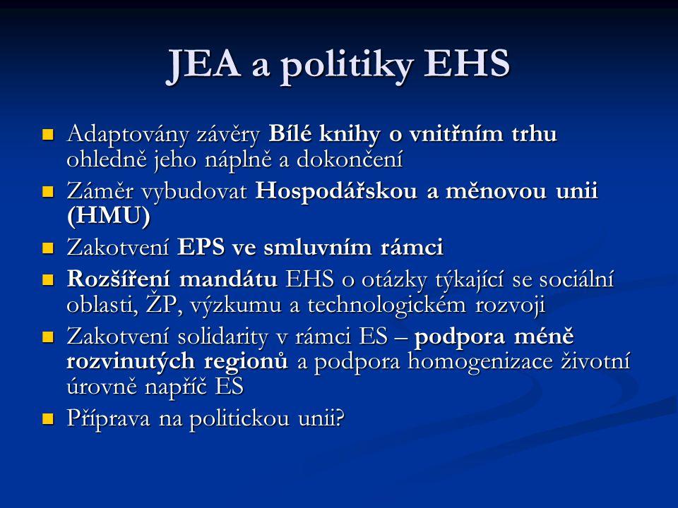 JEA a politiky EHS Adaptovány závěry Bílé knihy o vnitřním trhu ohledně jeho náplně a dokončení. Záměr vybudovat Hospodářskou a měnovou unii (HMU)