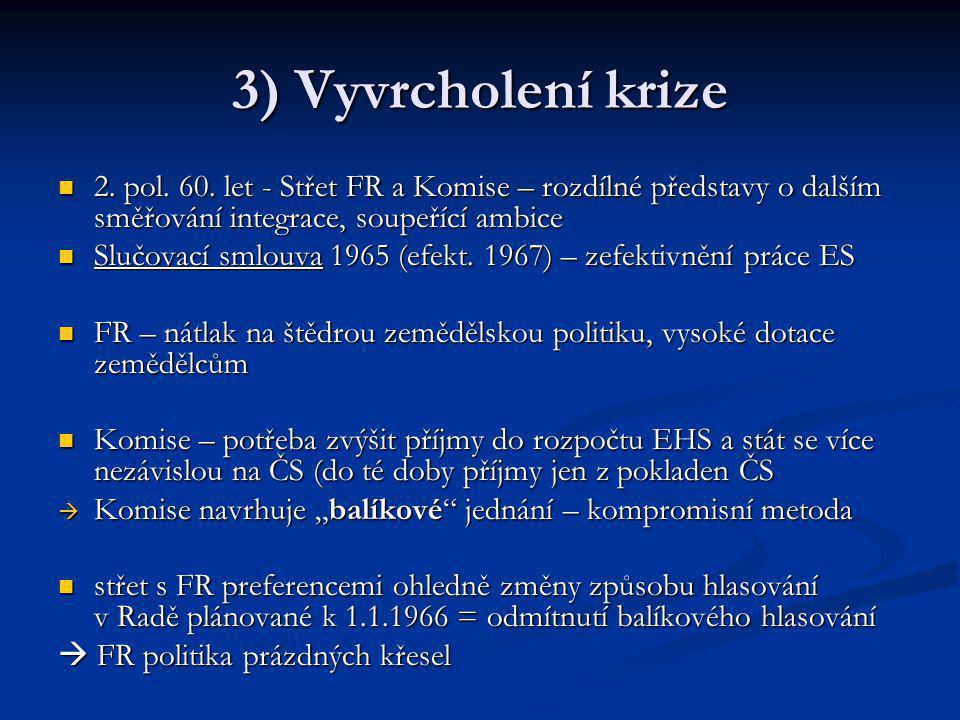 3) Vyvrcholení krize 2. pol. 60. let - Střet FR a Komise – rozdílné představy o dalším směřování integrace, soupeřící ambice.