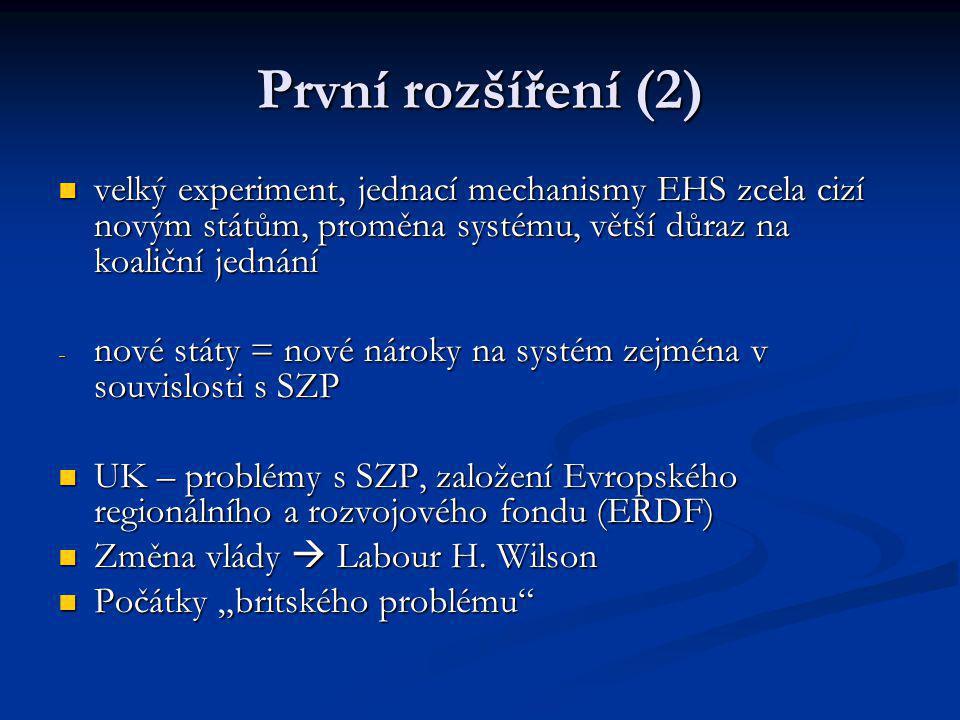 První rozšíření (2) velký experiment, jednací mechanismy EHS zcela cizí novým státům, proměna systému, větší důraz na koaliční jednání.