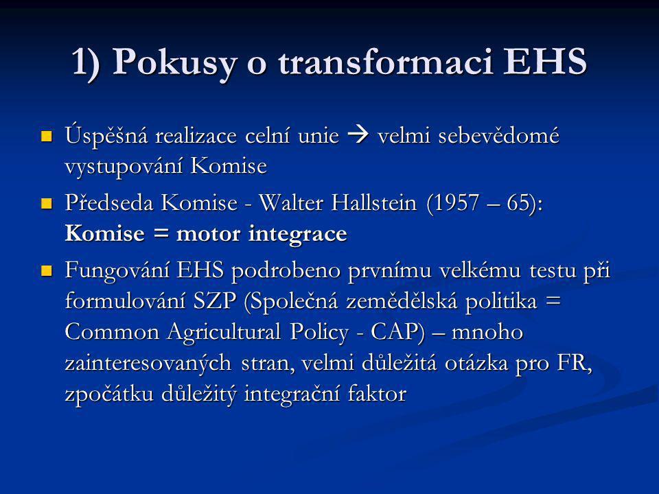 1) Pokusy o transformaci EHS