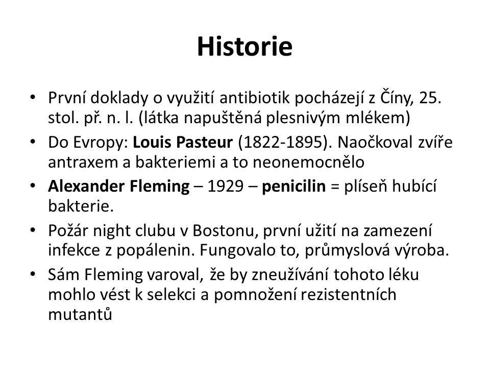 Historie První doklady o využití antibiotik pocházejí z Číny, 25. stol. př. n. l. (látka napuštěná plesnivým mlékem)