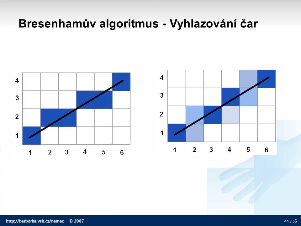 Bresenhamův algoritmus - Vyhlazování čar