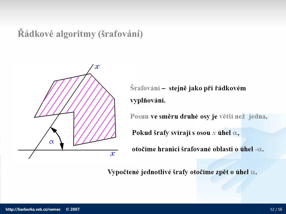 Řádkové algoritmy (šrafování)