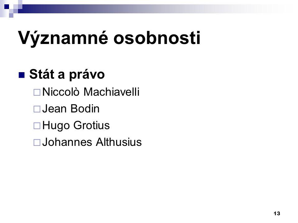 Významné osobnosti Stát a právo Niccolò Machiavelli Jean Bodin