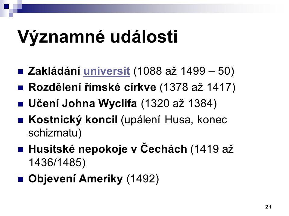 Významné události Zakládání universit (1088 až 1499 – 50)