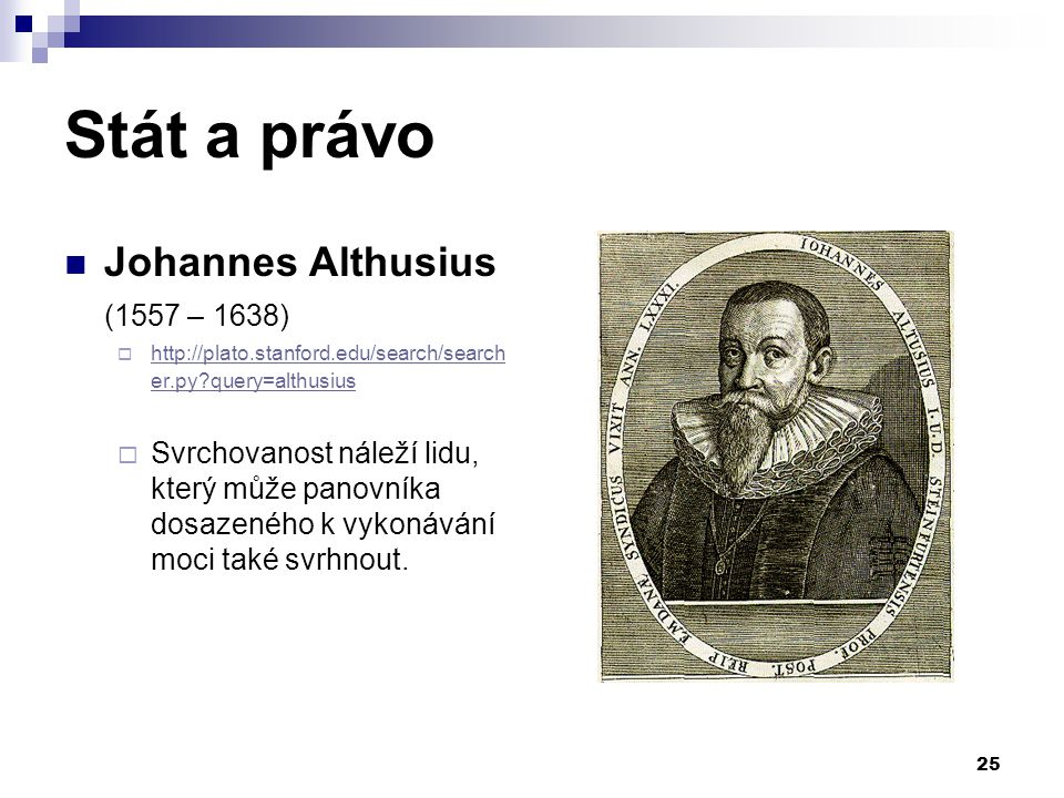 Stát a právo Johannes Althusius (1557 – 1638)