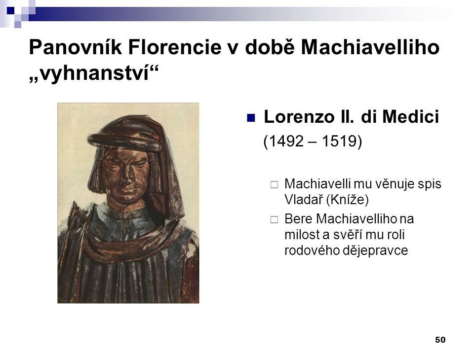 "Panovník Florencie v době Machiavelliho ""vyhnanství"