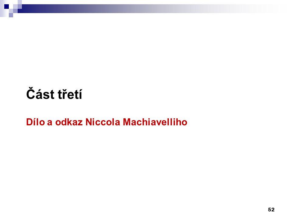 Část třetí Dílo a odkaz Niccola Machiavelliho