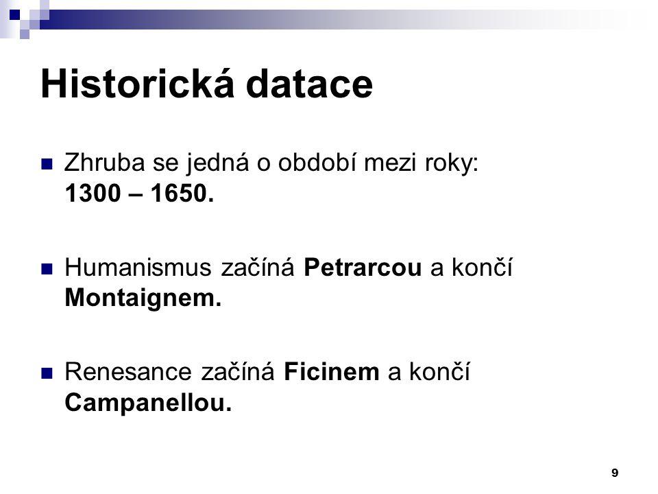 Historická datace Zhruba se jedná o období mezi roky: 1300 – 1650.