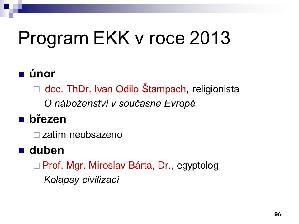Program EKK v roce 2013 únor březen duben
