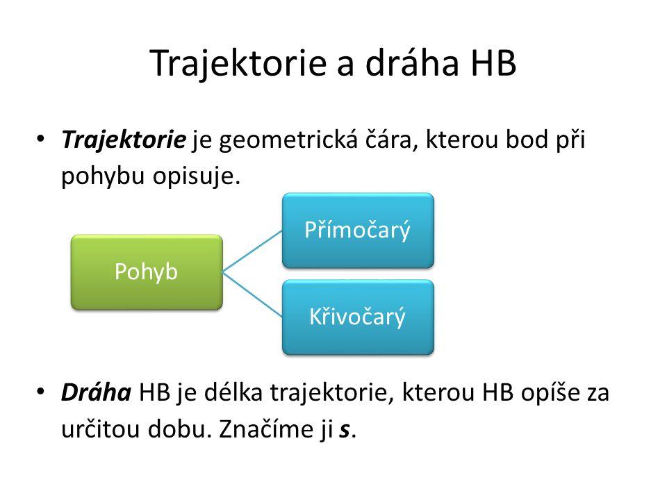 Trajektorie a dráha HB Trajektorie je geometrická čára, kterou bod při pohybu opisuje.