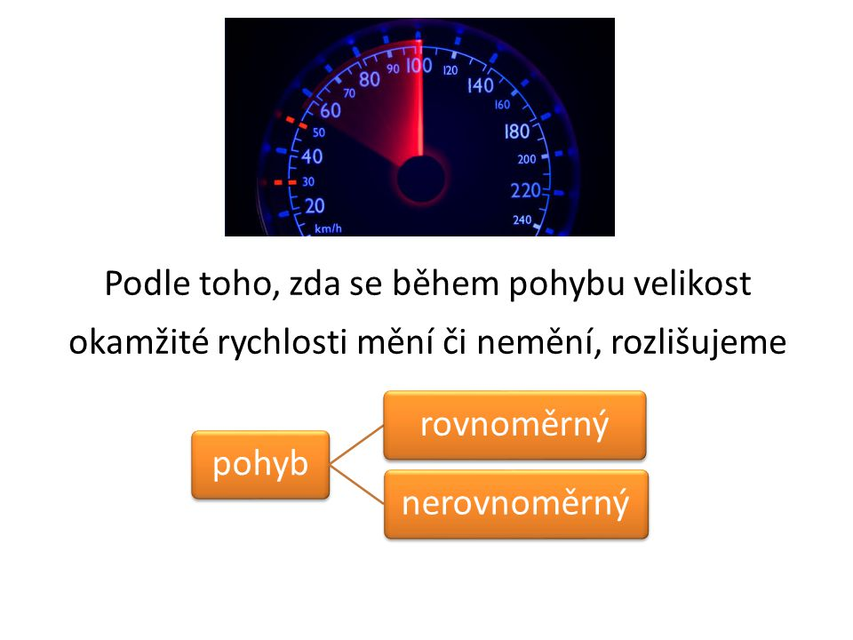 Podle toho, zda se během pohybu velikost okamžité rychlosti mění či nemění, rozlišujeme