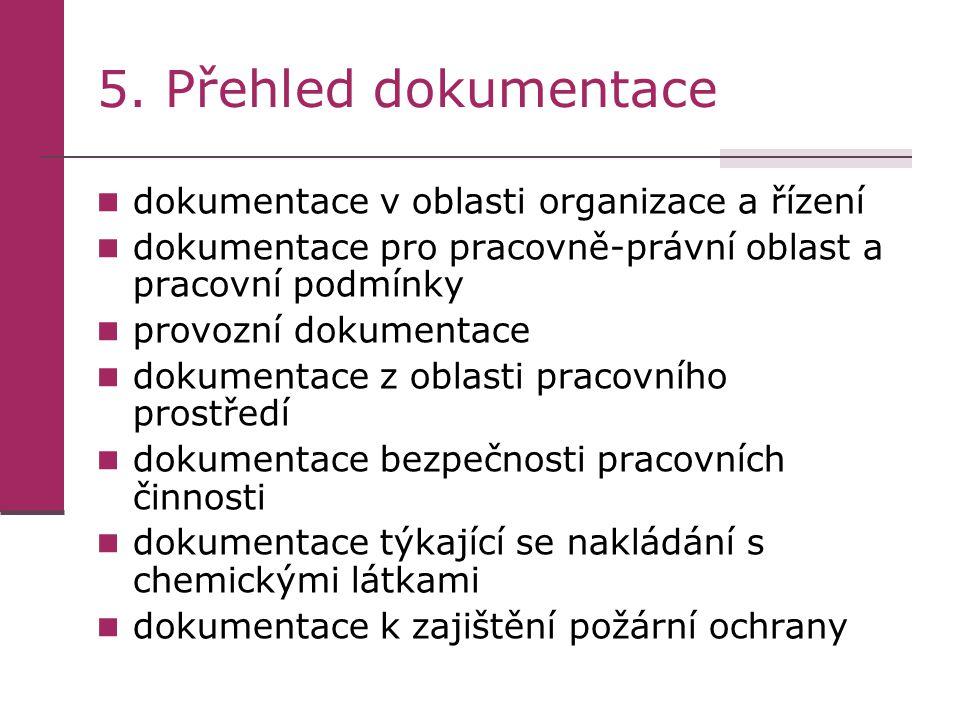 5. Přehled dokumentace dokumentace v oblasti organizace a řízení