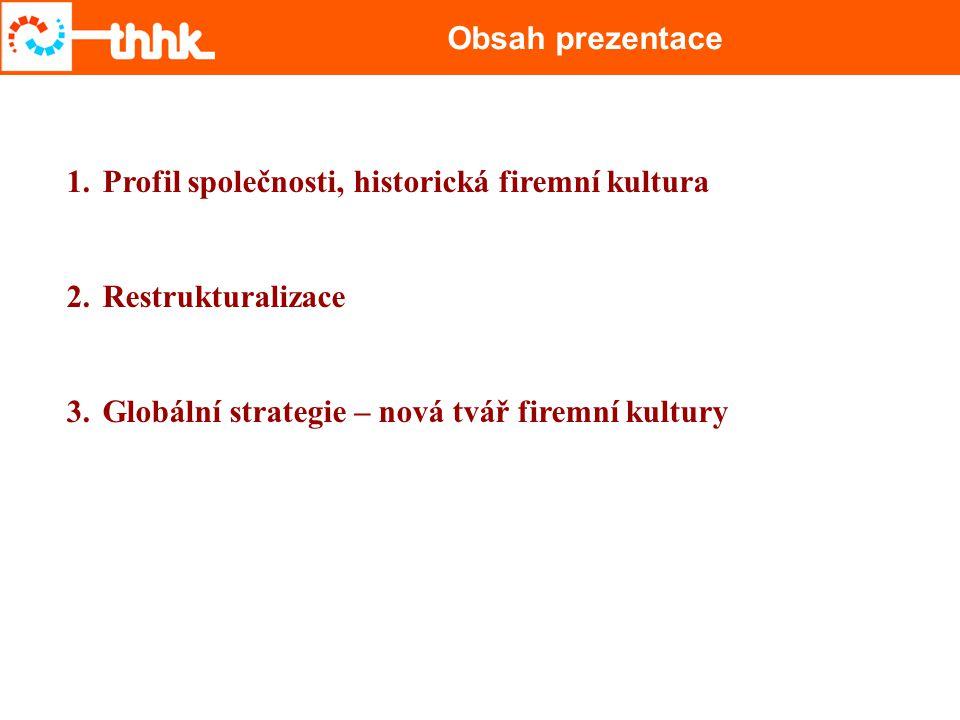 Obsah prezentace Profil společnosti, historická firemní kultura.