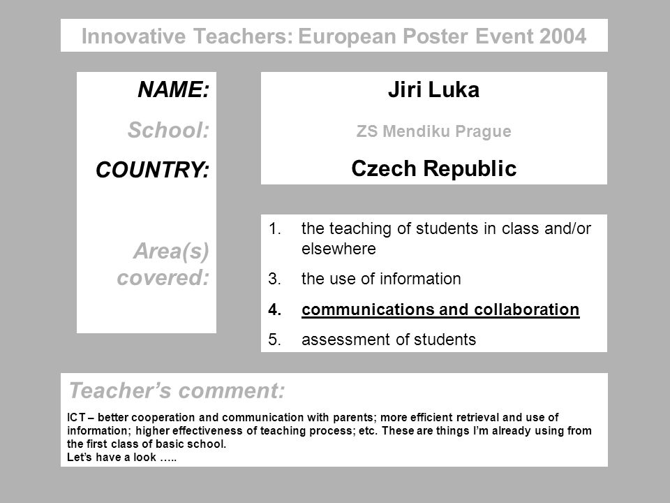Innovative Teachers: European Poster Event 2004