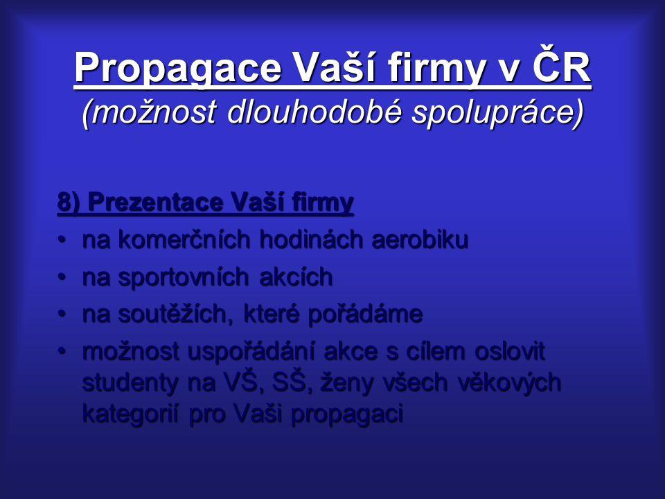 Propagace Vaší firmy v ČR (možnost dlouhodobé spolupráce)