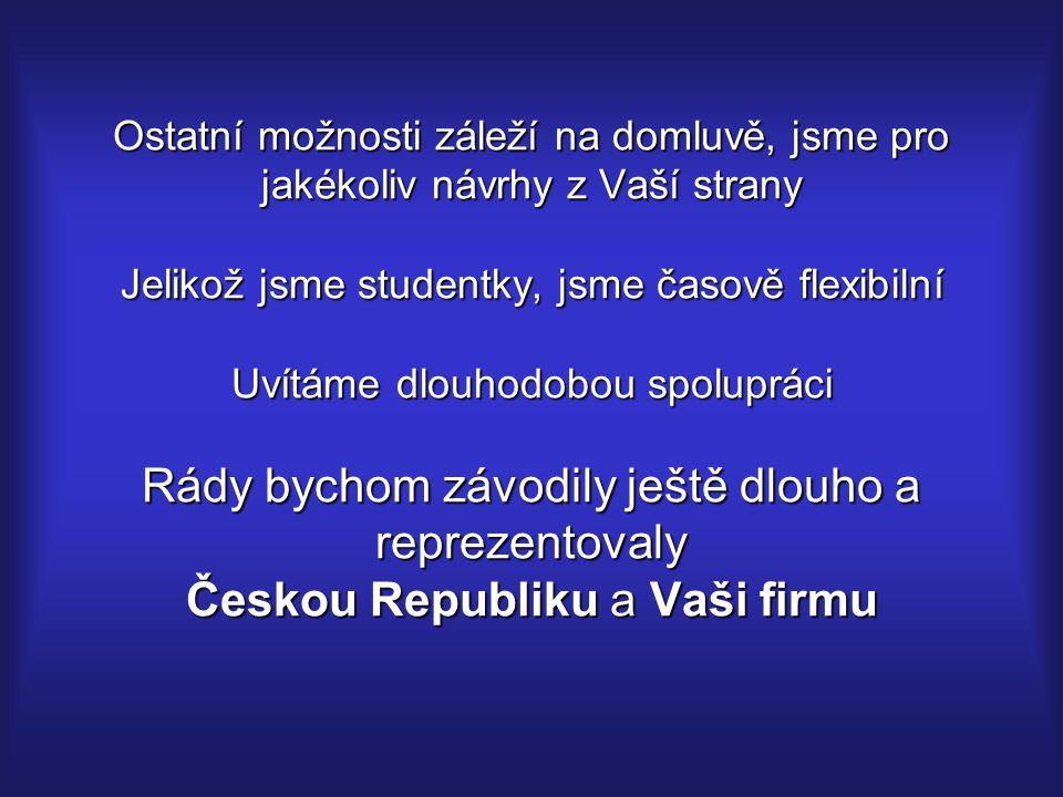 Ostatní možnosti záleží na domluvě, jsme pro jakékoliv návrhy z Vaší strany Jelikož jsme studentky, jsme časově flexibilní Uvítáme dlouhodobou spolupráci Rády bychom závodily ještě dlouho a reprezentovaly Českou Republiku a Vaši firmu