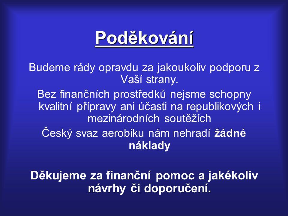 Děkujeme za finanční pomoc a jakékoliv návrhy či doporučení.