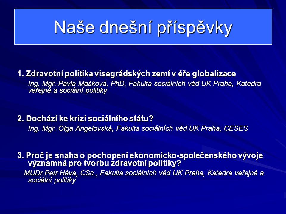 Naše dnešní příspěvky 1. Zdravotní politika visegrádských zemí v éře globalizace.