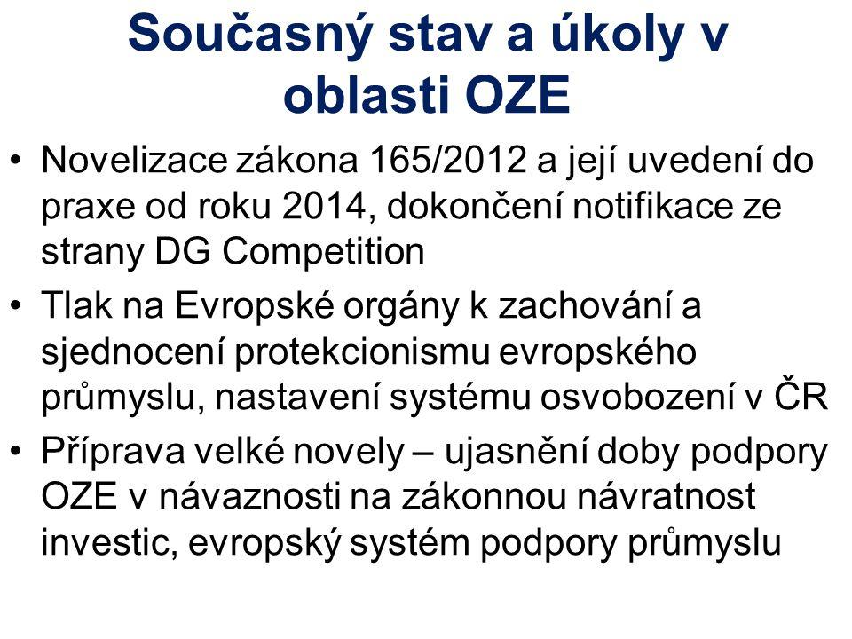 Současný stav a úkoly v oblasti OZE