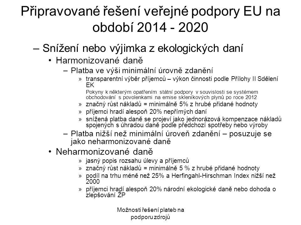 Připravované řešení veřejné podpory EU na období 2014 - 2020