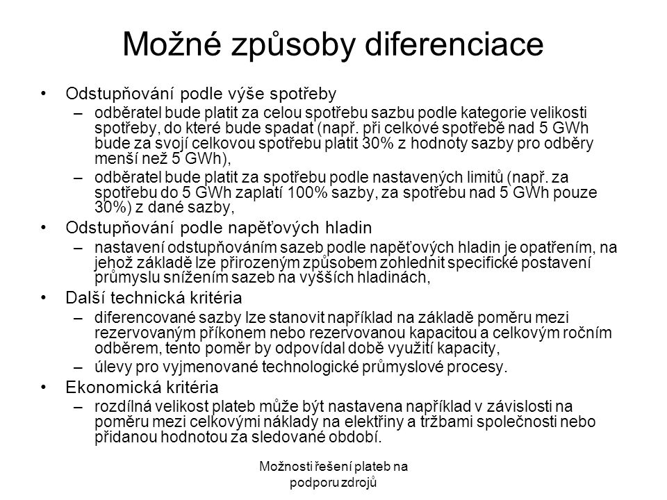 Možné způsoby diferenciace