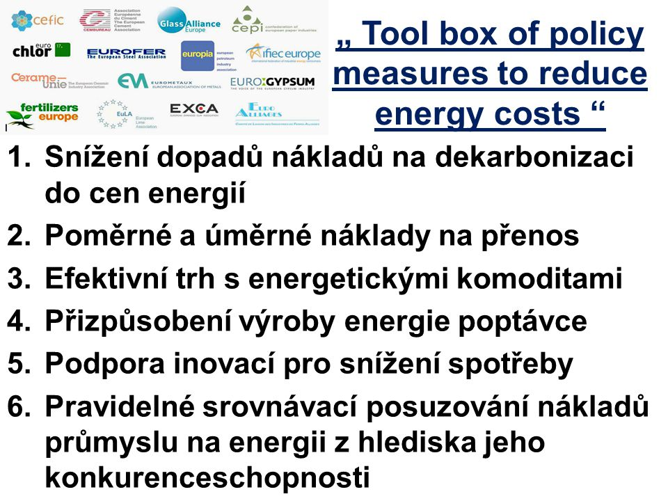 """ Tool box of policy measures to reduce energy costs"