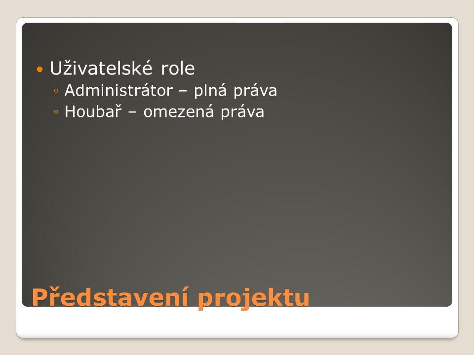 Představení projektu Uživatelské role Administrátor – plná práva
