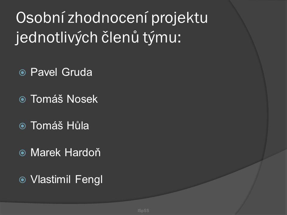 Osobní zhodnocení projektu jednotlivých členů týmu: