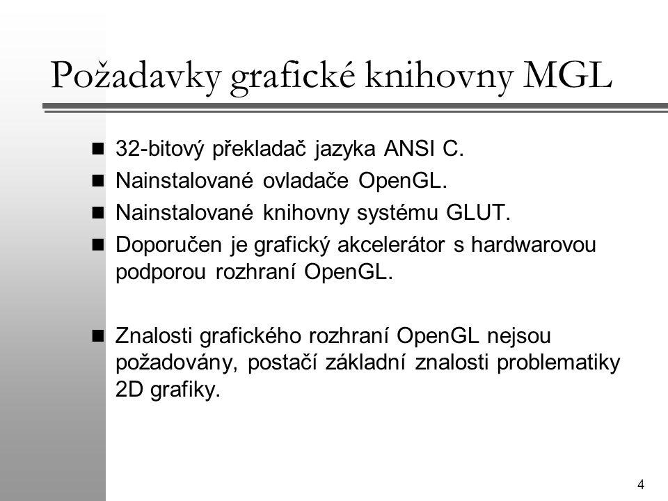Požadavky grafické knihovny MGL