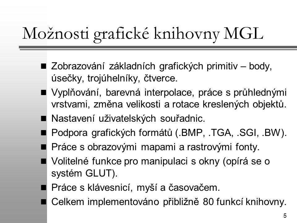 Možnosti grafické knihovny MGL