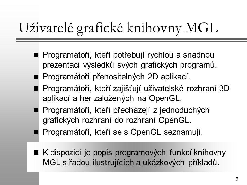 Uživatelé grafické knihovny MGL