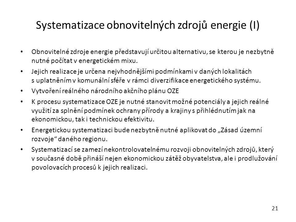 Systematizace obnovitelných zdrojů energie (I)