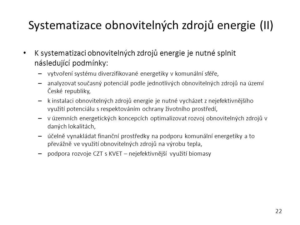 Systematizace obnovitelných zdrojů energie (II)