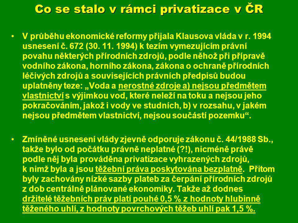 Co se stalo v rámci privatizace v ČR