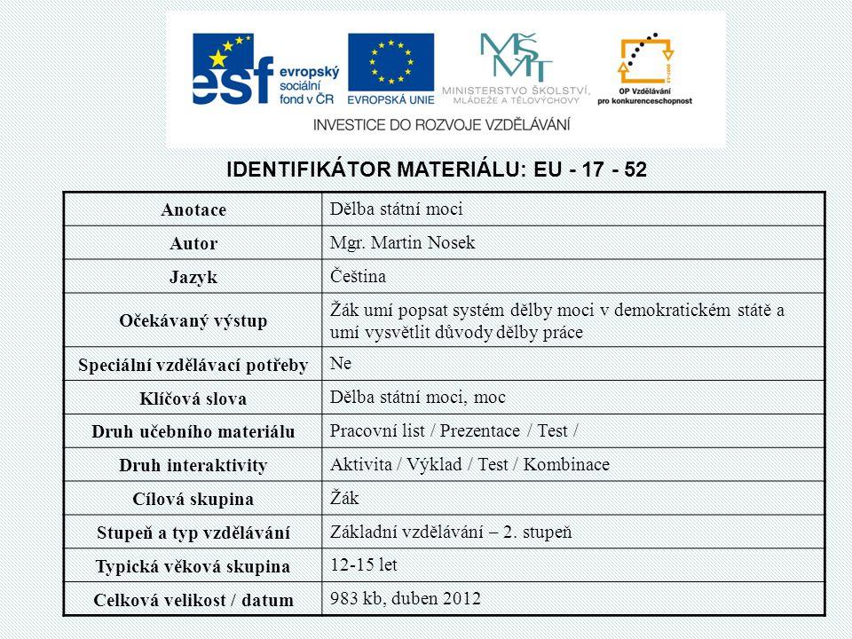IDENTIFIKÁTOR MATERIÁLU: EU - 17 - 52