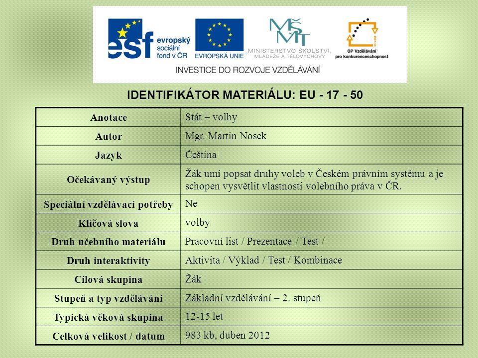 IDENTIFIKÁTOR MATERIÁLU: EU - 17 - 50