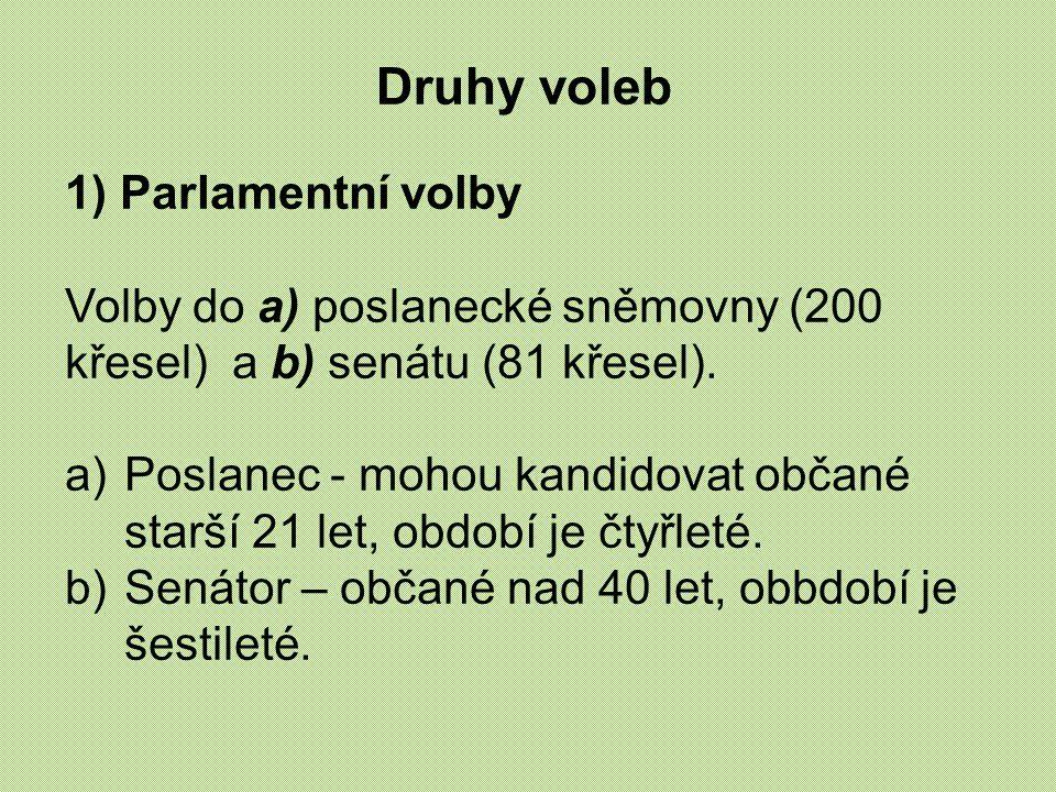 Druhy voleb 1) Parlamentní volby